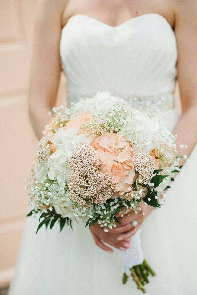 Jumbo Peach & White Hydrangea, White Gypsophila (Baby's Breath), Peach/Pink Stock, & Foliage Are Nicely Arranged In A Lush & Romantic Round Bouquet****