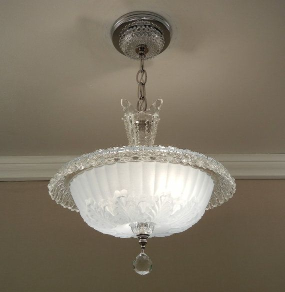 Vintage chandelier 1930s antique art deco soft blue rolled rim pressed glass ceiling light fixture rewired