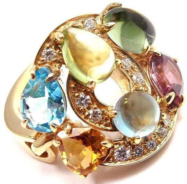 bulgari bvlgari cerchi 18k yellow gold diamond color stone ring