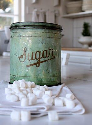 Sugar cubes. I try so hard to find these and NO local grocery store carries them--it's just a little bit more sophisticated to use them on a tea tray as opposed to granulated sugar. I'll keep looking.....