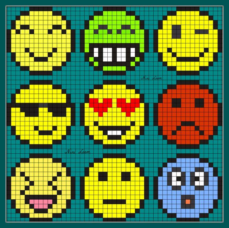 Emoticon Perler Bead Pattern                                                                                                                                                                                 Plus
