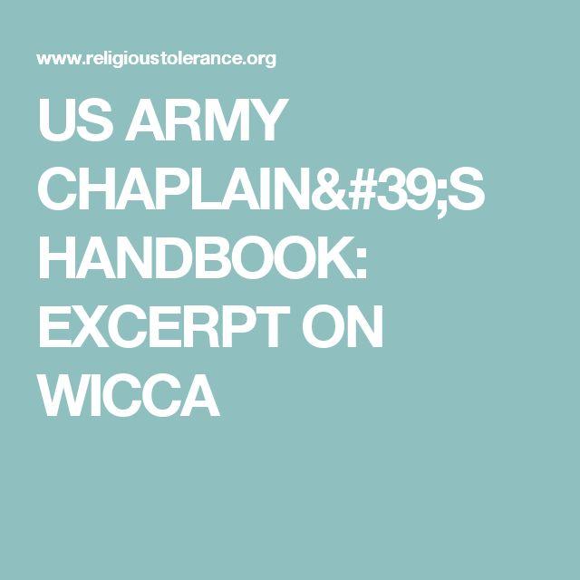 US ARMY CHAPLAIN'S HANDBOOK: EXCERPT ON WICCA