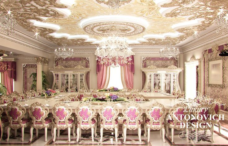 Элитный дизайн интерьера дома с красивой столовой в классическом стиле от дизайн студии Luxury Antonovich Design