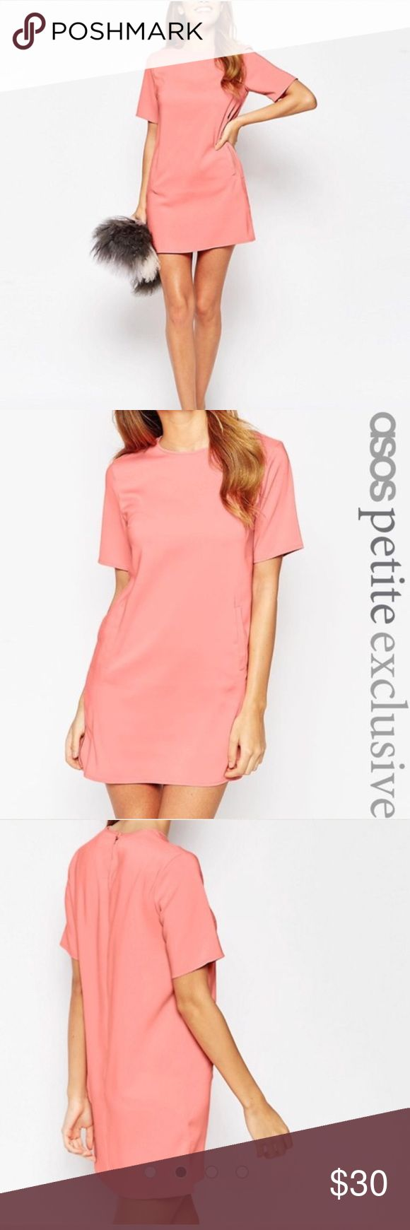ASOS Petite 2P Peach Mini Shift Dress NWT Beautifully smooth ASOS Petite Shift Dress in Peach. Pockets! (Just decorative not opened). NWT. No signs of wear. Only Flaw: tear in fabric near brand TAG. 96% Polyester 2% Elastane Lining is 100% Polyester. ASOS Petite Dresses Mini