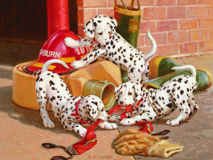 "Dalmation Firehouse is a 400 piece family jigsaw puzzle by Cobble Hill. Finished puzzle measures 24"" x 18"". Artwork by Jim Lam. Family Jigsaw Puzzle are made with the whole family in mind! Inside the box you will find small size pieces for adults, medium size pieces for older kids, and extra large pieces for the young children and seniors."