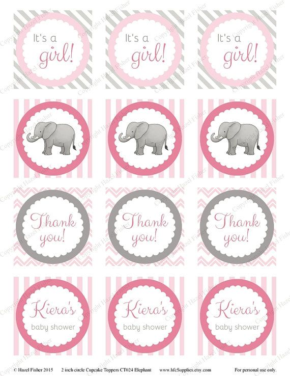 Elephant customised cupcake toppers, printable by hfcSupplies on Etsy. Printable cupcake topper, party circles for baby showers or birthday parties. They can also be used as favor tags.  3 colour schemes available: pink, blue or mint.