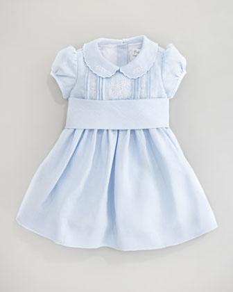Ralph Lauren Childrenswear Floral-Embroidered Dress, Beryl Blue | Bergdorf Goodman