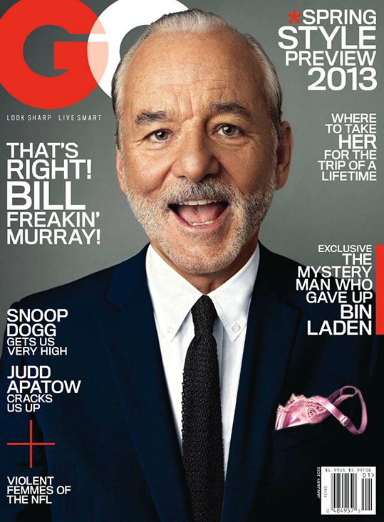 Bill Murray magazine cover design and layout for GQ