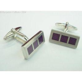 Three Square Purple Cufflinks - Three smart purple squares - modern and timeless.