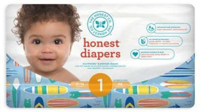 The Honest Company Honest 44-Count Size 1 Diapers in Down by the Seashore and Surfboards Pattern