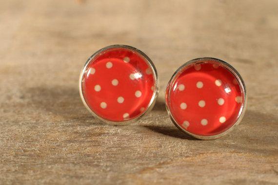 Boucles d'oreilles boutons cabochons de verre par MrAndMrsBeaver