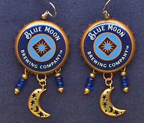 Blue Moon Earrings Bottle Cap Blue Moon Beer Upcycled by junksmith, $25.00