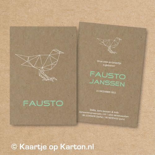 Geboortekaartje Fausto geometrisch vogeltje op bruin kraft karton | Kaartje op Karton | Letterpress stijl en zeefdruk geboortekaartjes