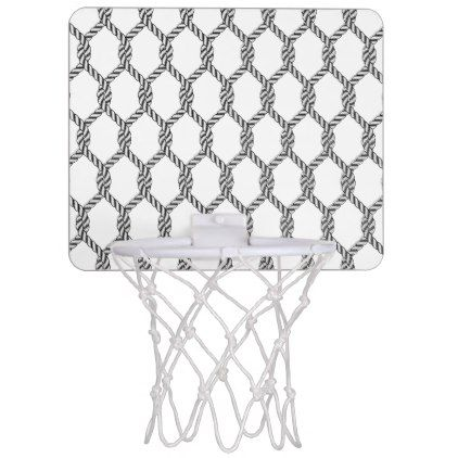 Black And White Nautical Rope Pattern Mini Basketball Backboard - country wedding gifts marriage love couples diy customize