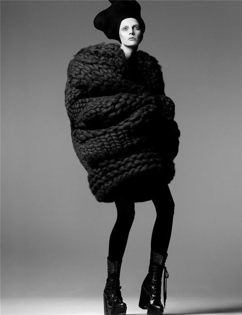 Knitted Cocoon Dress - knit couture; 3D textile structures; sculptural fashion