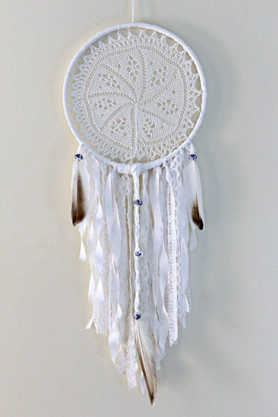White Dreamcatcher Boho Dream Catcher Large Doily by WhitetailRoad