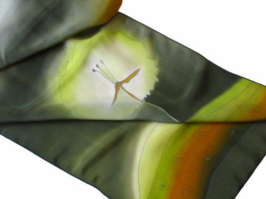 Dandelion silk scarf. Ash green silk scarf with dandelions. This time dandelions are set on extinguished green background with browns and some light green for contrast. Hand painted by SilkAgathe.