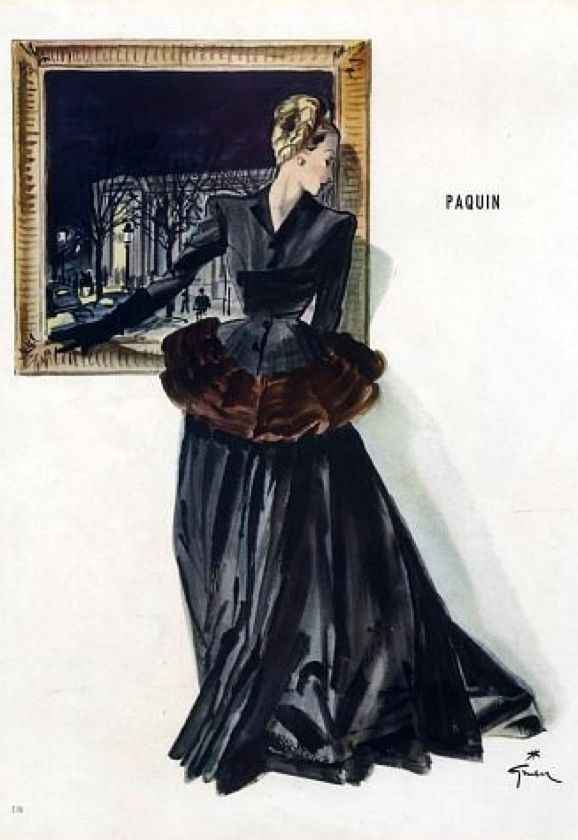 Fashion illustration by René Gruau, 1945, Evening gown by Paquin.