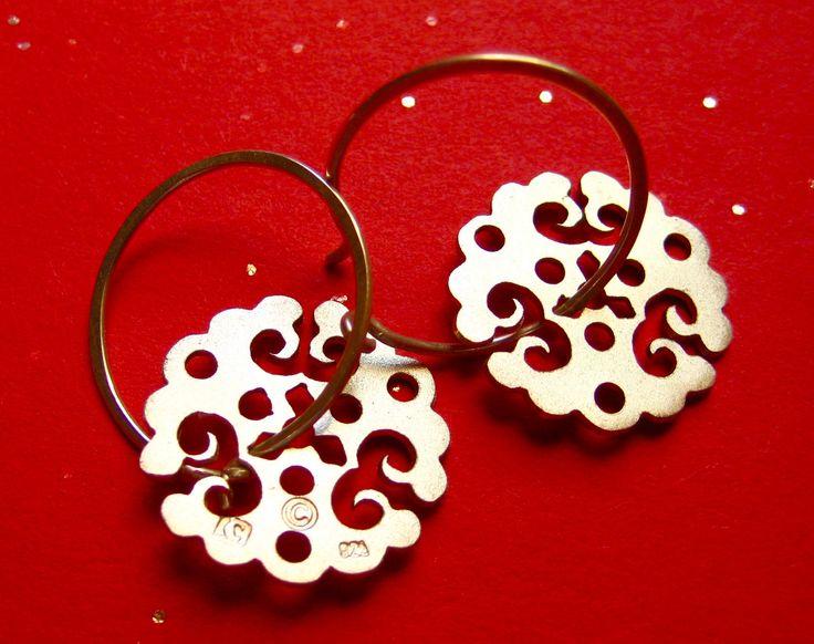 Sterling Silver Lace Dangle Earrings on Hoops by CeebWassermann on Etsy