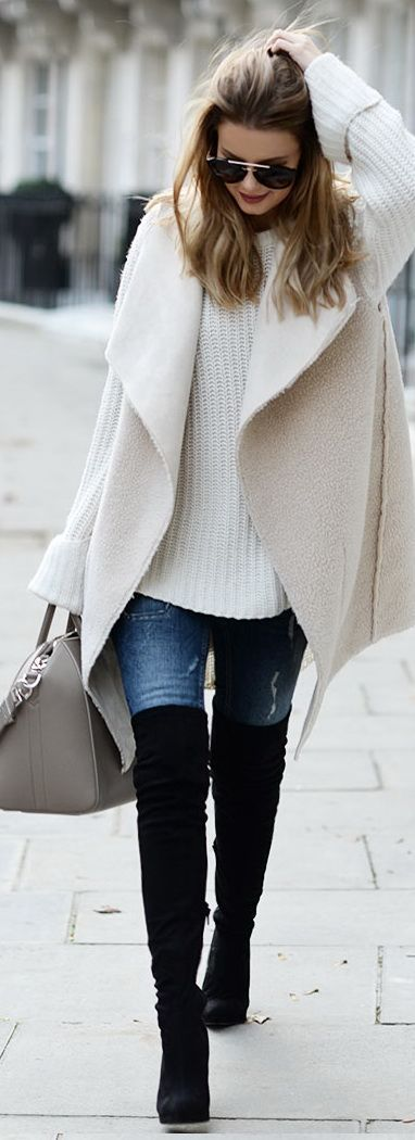 Vest: By Lene Orvik // Jumper: One Teaspoon // Jeans: Gina Tricot Bag: Givenchy // Over knee-boots: Asos // Sunglasses: Prada: