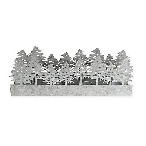 Light up your holiday decorations with the Beekman 1802 Forest Tealight Candle Holder. This beautiful, metal tealight holder can hold 4 tealight candles and features a beautiful forest motif, making it the perfect addition to your holiday décor.