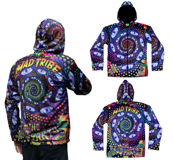 Sublime Hooded Jacket : LSD Party Printed using sublimation printing on a high quality polyester fleece. Extremely vibrant colors that will never fade. Fully lined with black cotton fabric. 2 outside zip pockets and 2 inside zip pockets. Secret stash pocket label ! Not printed with UV inks, but printed on UV active fabric, so there is some effect under the blacklight. Artwork byMad Tribe