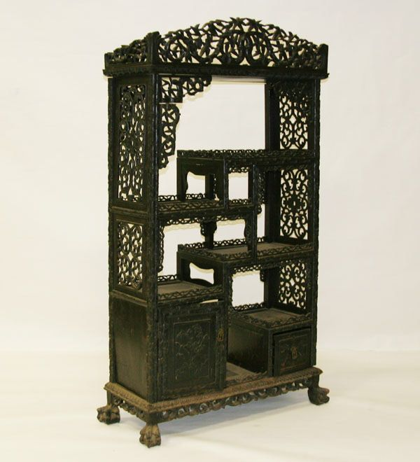 Wonderful Intricately Carved Chinese Etagere/cabinet, Impressive Detailed Work On  Panels, Doors, Sides, And Frame; Claw Feet And Old Surface.