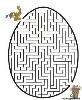 free Printable worksheets  Easter Bunny Egg Maze for kids.