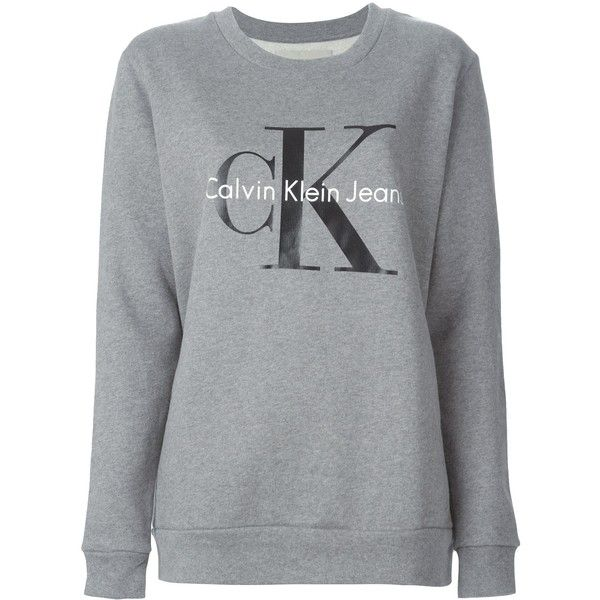 Calvin Klein Jeans Logo Sweatshirt ($105) ❤ liked on Polyvore featuring tops, hoodies, sweatshirts, sweaters, grey, grey top, logo sweatshirts, gray sweatshirt, logo tops and grey sweatshirt