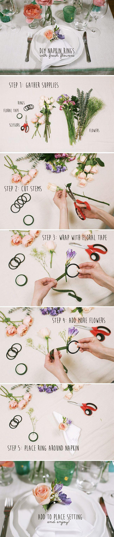 View full tutorial here: http://www.weddingbee.com/2014/05/15/fresh-flower-napkin-rings/