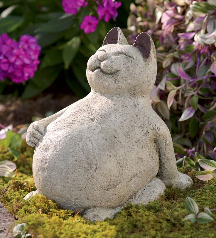 Volcanic Ash Lucky Cat. Buddha Cat For Yard. Outdoor StatuesGarden ...