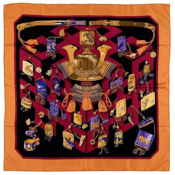 Preowned Fabulous Hermes Scarf 'reveries Japonaises' By Caty Latham (555 CAD) ❤ liked on Polyvore featuring accessories, scarves, brown, silk shawl, brown shawl, hermes scarves, silk scarves and brown scarves