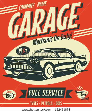 Retro car service sign. Vector illustration. - stock vector