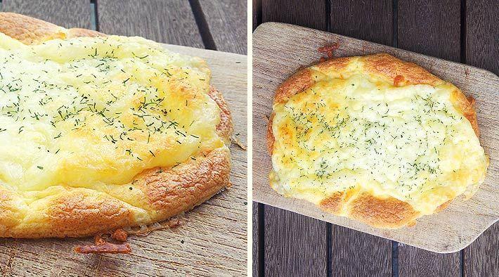 Überbackenes Mozzarella-Low-Carb-Fladenbrot