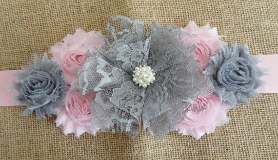 Girl Maternity Sash Grey/Pink Lace Flower Sash by reneesboutique23