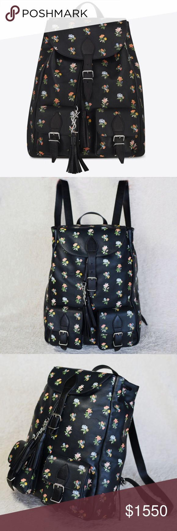 NEW YSL FESTIVAL BACKPACK FLOWER PRINTED LEATHER Authentic. Brand new with tags. Made in Italy. The ID code inside this bag backpack: GNR415195*1215. This backpack will come with dust bag and the care cards. Saint Laurent backpack with 2 exterior cargo pockets and drawstring full with metal interlocking YSL signature gourmette chain and leather tassel. 100% calfskin. Cotton lining. Adjustable buckle closure and cinch top. Oxidized nickel hardware. Adjustable shoulder straps. Interior zip…
