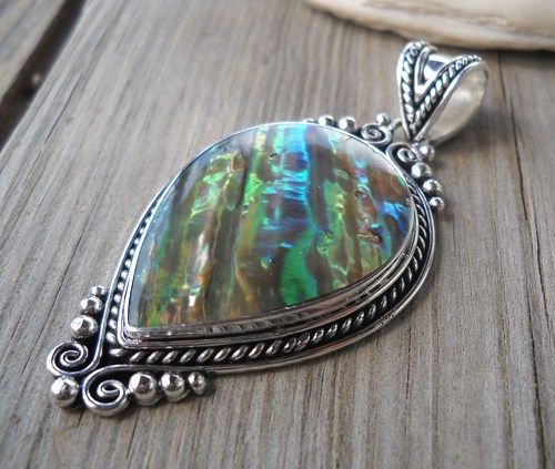 925 Sterling Silver Abalone Pendant  Weight:12.1 grams Size:60x32mm  Handmade,brand new