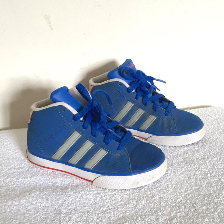 Boy's ADIDAS Hi Top Trainers Blue With Grey Stripes UK Size 13 Kids | eBay