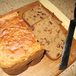 Cranberry Walnut Bread Recipe- this was amazing! For my machine (Cuisinart) add mix-ins (cranberries and walnuts) at very beginning