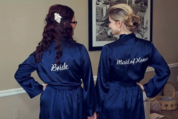 Navy Blue Embroidered Robe Bride Bridesmaid by WeddingPrepGals