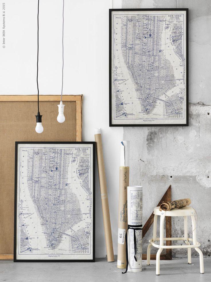 Ett motiv som passar på de flesta väggar är stiliserade kartor. Dekorativt på håll och roligt att gå nära, detaljstudera och lära sig något nytt! BILD Manhattan, RIBBA ram RÅSKOG pall, SEKOND upphängningssladd i textil, LEDARE LED ljuskälla.