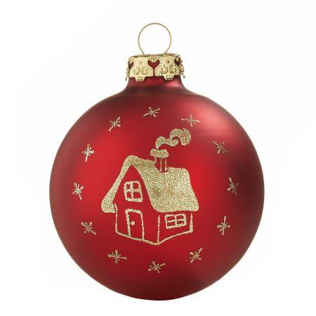 Tiefdruck Glaskugeln Schneebedecktes Haus rot-gold 7cm