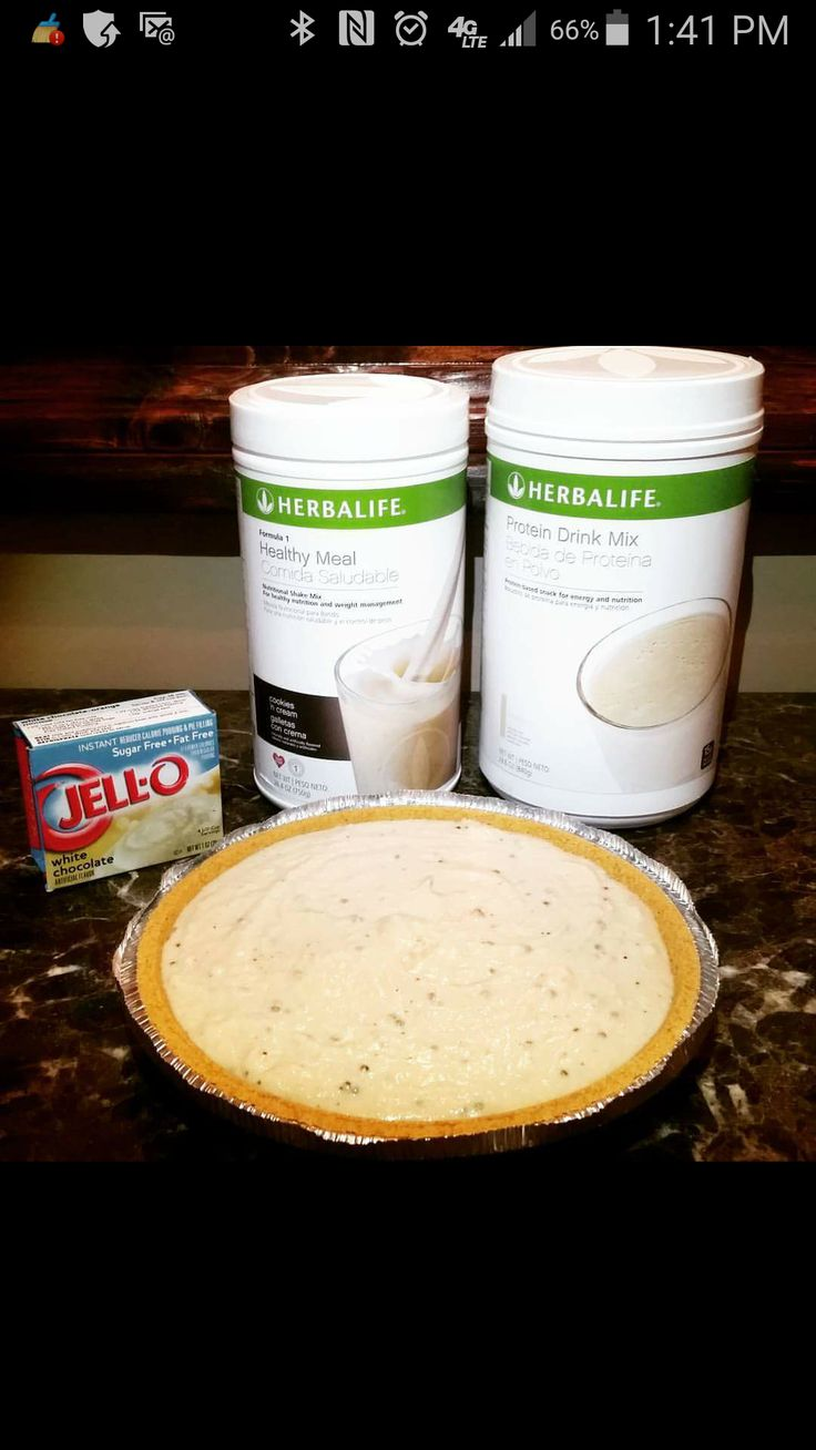 frozen healthy meal replacement pie. 12 scoops cookies F1, 12 scoops VPDM, 1 box sugar free white chocolate pudding mix, 5 cups water. blend well, pour into graham cracker pie crust and freeze. makes 6 slices, each slice replaces a meal.