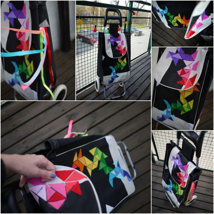 Colurful triangular pattern handmade shopping trolley-Woozing