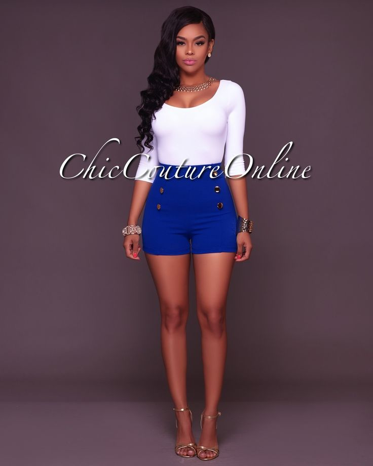 Chic Couture Online - Canalie Royal Blue Buttons Shorts, (http://www.chiccoutureonline.com/canalie-royal-blue-buttons-shorts/)