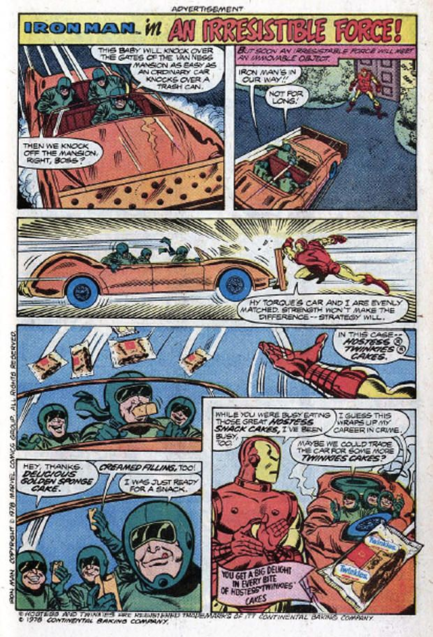 """Iron Man in """"An Irresistible Force"""", Hostess Twinkies, 1976"""