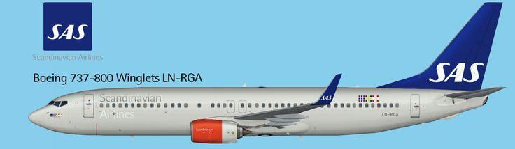 SAS Scandinavian Airlines Boeing 737-800 Winglets Short Nozzle FS9