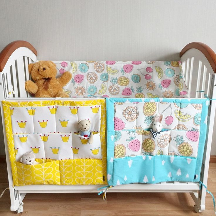 Baby Cot Bed Hanging Storage Bag Crib Organizer Toy Diaper Pocket for Crib Bedding Set Bed Bumper 54*59cm AY878874