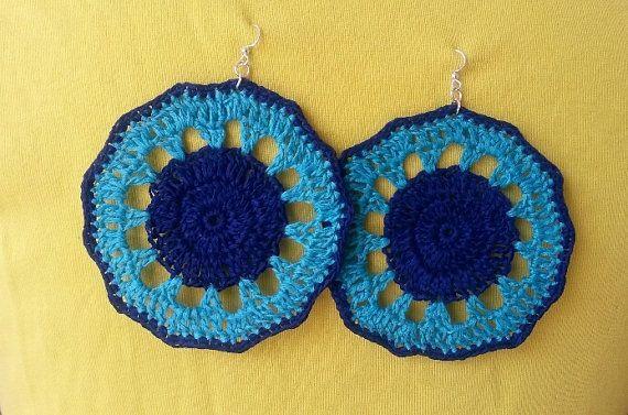 Crocheted Earrings Wagon Wheel by MrsUMakes on Etsy, £9.00  @MrsUMakes #mymrsumakes