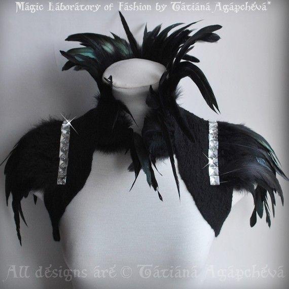 COLETTE Bolero Goth Decadent Steampunk Felted Black Chiffon Nuno Felted Coque Feathers Empress Collar, Sleeves Rhinestones US 4